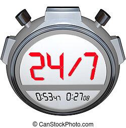 24個小時一天, 七, 天, 星期, stopwatch, 定時器, 鐘