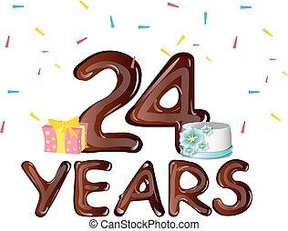 24 , αριθμόs , χαιρετισμός , γενέθλια αγγελία , ευτυχισμένος