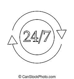 24, カスタマーサービス, サポート, 何時間も, アイコン