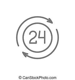 24, 利用できる, 時間, サービス, 線, icon.