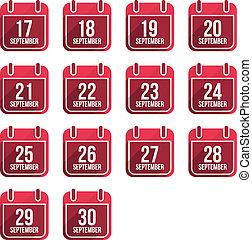 24, 平ら, セット, 9 月, 日々, icons., ベクトル, 年, カレンダー