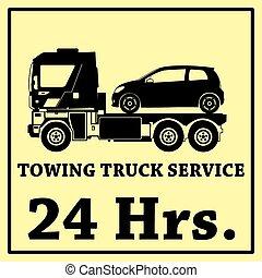 24 時間, ベクトル, towing, トラック, アイコン