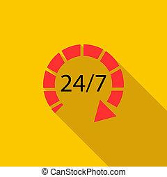 24 時間, 顧客サポート, サービス, アイコン, 平ら, スタイル