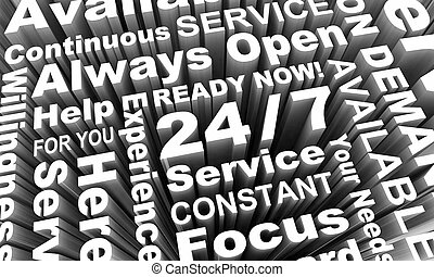 24-7 Always Open Available Service Word Collage 3d Render Illustration