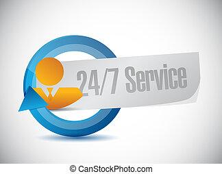 24-7, concept, gens, service, signe