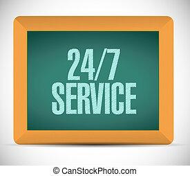 24-7, concept, tableau, service, signe