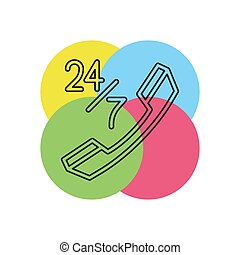 24 7 customer service icon