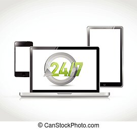 24 7 electronic illustration design