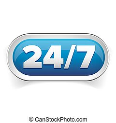 24 7 icon. open 24 hours a day and 7 days a week