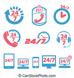 24 / 7 icon set - open 24 hours a day and 7 days a week...