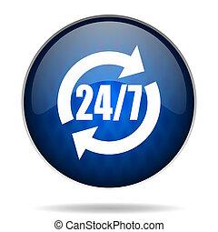 24 7 internet blue icon