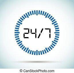 24, 7, minuteur
