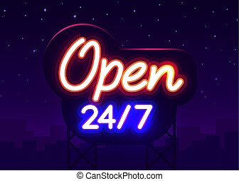 24 7 Neon Sinboard Vector. Open all day neon sign, design template, modern trend design, night signboard, night bright advertising, light banner.