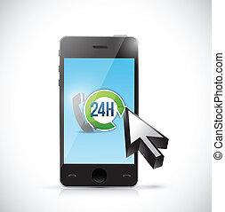 24 7 phone support illustration design