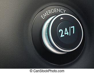 24 7 service concept - knob with 24/7 text. Arrow pointing...