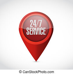 24-7 service pointer sign concept illustration design icon ...