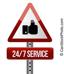 24-7 service road sign concept illustration design icon ...