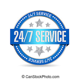 24-7 service seal sign concept illustration design icon ...
