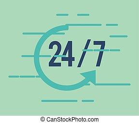 24, 7, servicio, con, icono flecha
