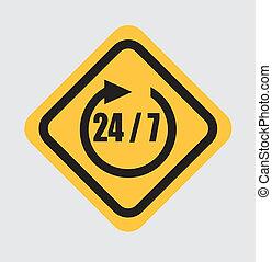 24-7 signal over white background vector illustration