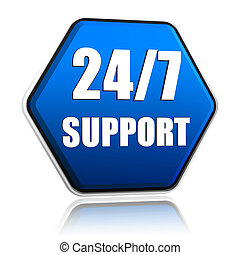 3d blue hexagon button with text 24 7 support