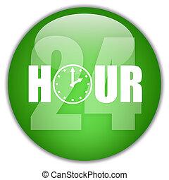 24, abierto, hora