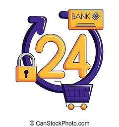 24, achats, service, charrette, heures, crédit, ligne, carte