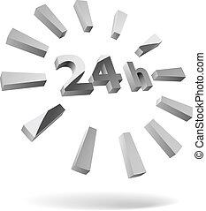 24, acier, isolé, heures, white., icône, 3d