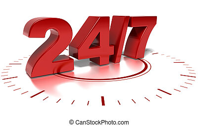 24 and 7 numbers over a white background