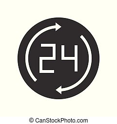 24 and arrow, business working hours icon pixel perfect