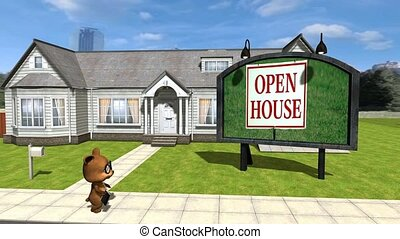 24 animated cartoon teddy walks from house he is trying to ...