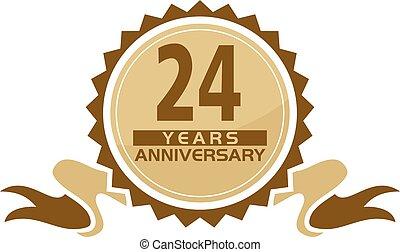 24, anos, fita, aniversário