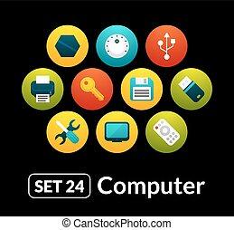24, apartamento, jogo, ícones, -, cobrança, computador, vetorial