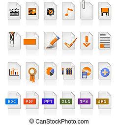 24, arquivo, ícones