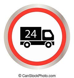 24, bil, timmar, ikon
