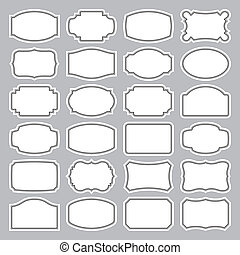 24 blank labels set (vector) - set of 24 blank retro labels,...