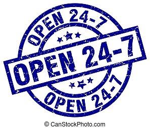 24, bleu, grunge, timbre, 7, ouvert, rond