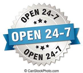24, bleu, ouvert, 7, écusson, argent, ruban, 3d