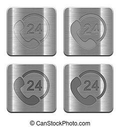 24, boutons, soutien, métal, heure