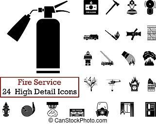 24, brûler, ensemble, service, icône