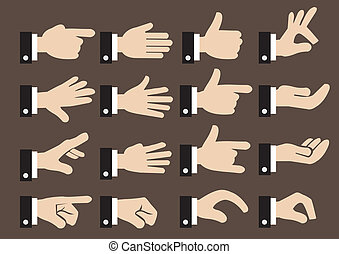 24 Businessman Hand Signs and Gestures Vector Icon Set