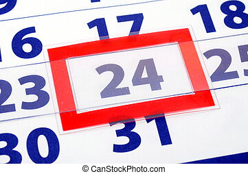 24 calendar day - calendar date showing day week and month...