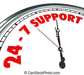 24, client, mots, service, horloge, always, soutien, nombres, 7, ouvert