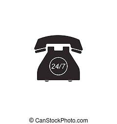 24, client, service plein, week., isolated., soutien, téléphone, illustration, hour., heures, call-center., vecteur, jours, 7, icône, ouvert, jour, all-day