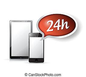 24, cliente, ora, servizio, support., tecnologia