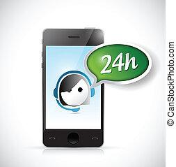 24, cliente, ora, sostegno, illustrazione, telefono