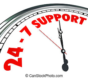 24, cliente, palavras, serviço, relógio, always, apoio, números, 7, abertos