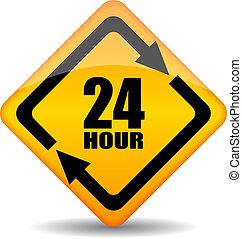 24, clientes, vector, apoyo, hora