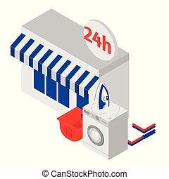 24, company., isometrico, bucato, machines., servizio, ore, apparecchiatura, pulizia, stiratura, lavaggio, moneta, aperto