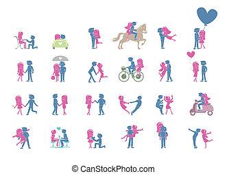 24, coppia, atteggiarsi, set, illustrazione